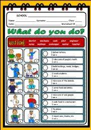 English Worksheet: WHAT DO YOU DO?