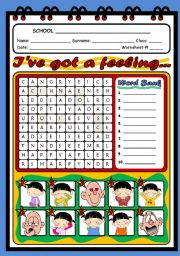 English Worksheet: FEELINGS AND EMOTIONS  - WORDSEARCH
