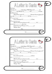 English Worksheet: A Letter to Santa Mad Libs