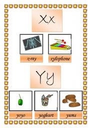 English worksheet: picture dictionary (x y z) 2 pages