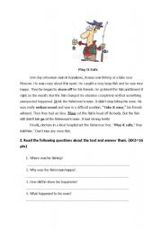 English Worksheets: reading text with comprehension questions and vocabulary