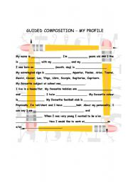 English Worksheets: guided Composition - My Profile