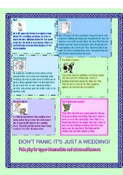 English Worksheet: Don�t panic, it�s just a wedding! Roleplay for upper-intermediate and advanced learners