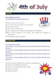 English Worksheet: 4th of July: Treasure Hunt