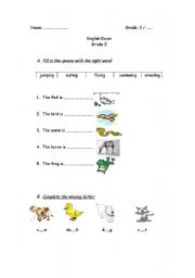 English Worksheet: animals and actions