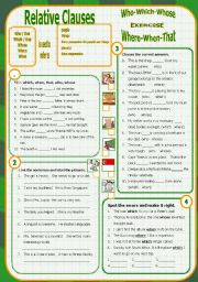 English Worksheets: Relative Clause - Exercise