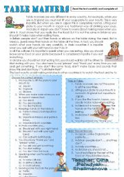 English Worksheet: TABLE MANNERS. (reading comprehension for my 6 graders)