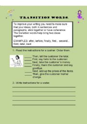 English Worksheets: TRANSITION WORDS