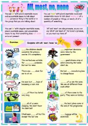 English Worksheets: all/most/no/none