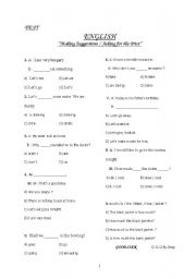 English Worksheet: ''Making Suggestions & Asking for the Price''
