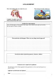 English Worksheets: A Police Report
