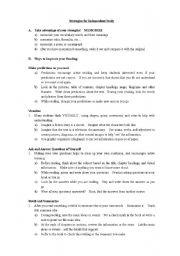 English worksheet: Independent Study Strategies