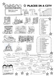 english worksheets places in a city. Black Bedroom Furniture Sets. Home Design Ideas