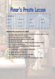 English Worksheets: Pixar�s Presto Lesson