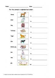English Worksheets: ALPHABETICAL  ANIMALS