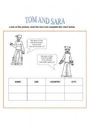 English Worksheets: tom and sara