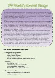 English Worksheets: The World´s Longest Bridge (4 pages + Key)