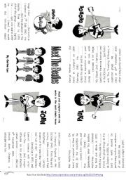 English Worksheet: Meet The Beatles  Minibook - Simple Past Tense