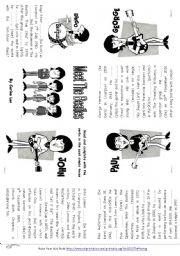 English Worksheet: Meet The Beatles  Minibook - Simple Past Tense