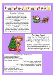 English Worksheet: CHRISTMAS POEMS 2