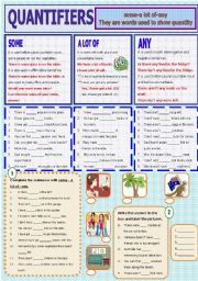 English Worksheet: Quantifiers - some-a lot of -any