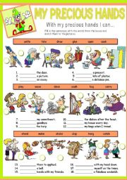 English worksheet: MY PRECIOUS HANDS