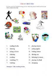 English Worksheets: I like or I don�like