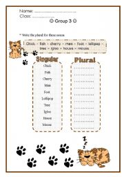 english worksheet do plural with the cat. Black Bedroom Furniture Sets. Home Design Ideas