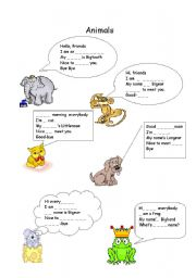 English Worksheets: greeting animals