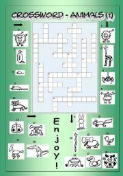 English Worksheets: Crossword - Animals 1 (Easy)