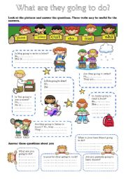 English Worksheet: what are they going to do?