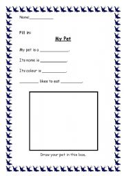 English worksheet: My Pet