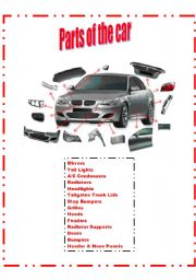 English Worksheet: Parts of the car