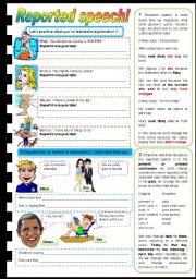 English Worksheet: Reported Speech - brief guide & exercises (fully editable)