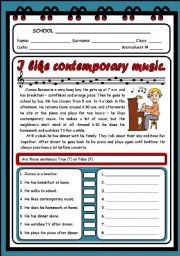 English Worksheet: I LIKE CONTEMPORARY MUSIC (READING & COMPREHENSION) - 2 PAGES