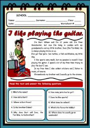 English Worksheets: I LIKE PLAYING THE GUITAR (2 PAGES)