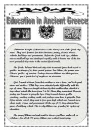 English Worksheet: Education in Ancient Greece:  Comprehension/ Grammar/ Writing