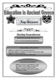 English Worksheet: Education in Ancient Greece Part 2 Key Answers