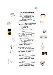 English Worksheets: the skeleton song - fill the gaps
