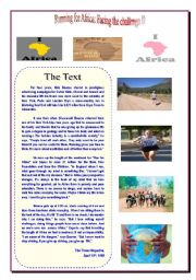 English Worksheets: Running for Africa, Facing the challenge