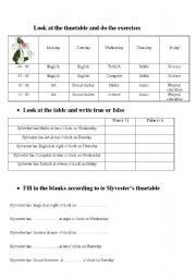 English worksheet: timetables