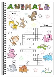 English Worksheet: ANIMALS CROSSWORDS