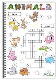 English Worksheets: ANIMALS CROSSWORDS