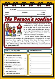 English Worksheets: THE PARSONS ROUTINE (2 PAGES)