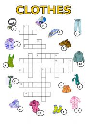 ESL worksheets for beginners: CLOTHES - puzzle-