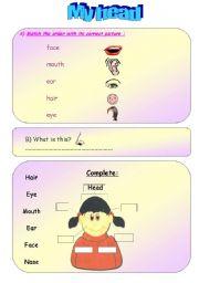 English Worksheets: My Head