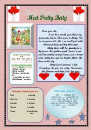 English Worksheets: Meet Pretty Betty  Reading Comprehension for beginners