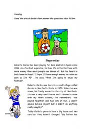 reading sheet about a famous player