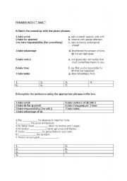 English Worksheets: phrases with  take