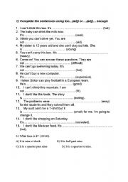 English Worksheets: too